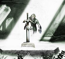 Link approaching the Master Sword by Aaron Pacey