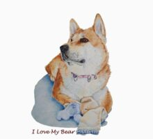 cute Japanese akita dog with teddy portrait realist art  Kids Clothes