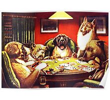 Dogs Playing Poker Vintage postcard Poster