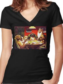 Dogs Playing Poker Vintage postcard Women's Fitted V-Neck T-Shirt