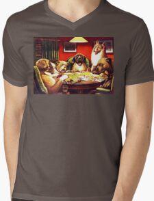 Dogs Playing Poker Vintage postcard Mens V-Neck T-Shirt