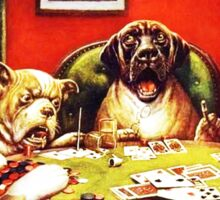 Dogs Playing Poker Vintage postcard Sticker