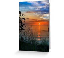 sunset over loop head with silhouetted wild tall grass  Greeting Card