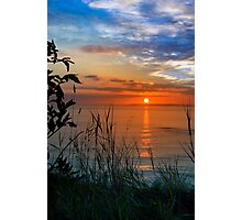 sunset over loop head with silhouetted wild tall grass  Photographic Print