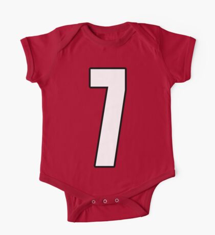 Football, Soccer, 7, Seven, Number Seven, Seventh, Lucky, Team, Number, Red, Devils One Piece - Short Sleeve