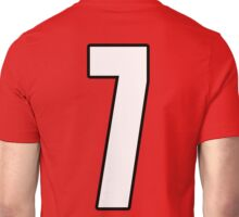 Football, Soccer, 7, Seven, Number Seven, Seventh, Lucky, Team, Number, Red, Devils Unisex T-Shirt