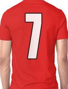 Football, Soccer, 7, Seven, Number Seven, Seventh, Lucky, Team, Number, Red, Devils Unisex T-Shirt