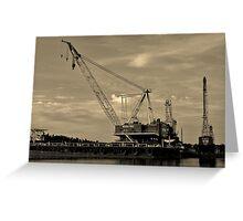 Barge Crane Greeting Card