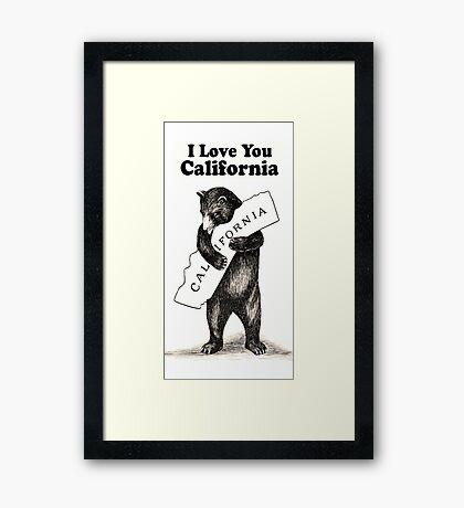 Vintage I Love You California Framed Print