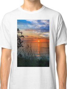 sunset over loop head with silhouetted wild tall grass  Classic T-Shirt