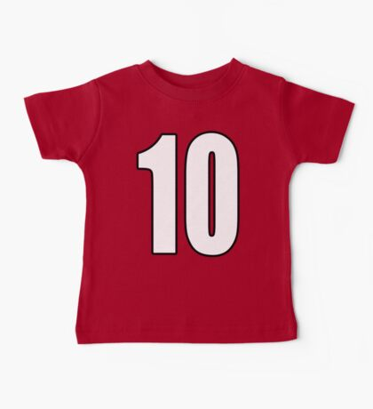 Football, Soccer, 10, Ten, Tenth, Number Ten, Team, Number, Red, Devils Baby Tee