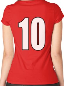 Football, Soccer, 10, Ten, Tenth, Number Ten, Team, Number, Red, Devils Women's Fitted Scoop T-Shirt