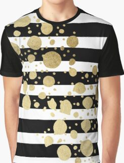 Faux Gold Paint Splatter on Black & White Stripes Graphic T-Shirt