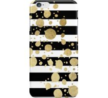 Faux Gold Paint Splatter on Black & White Stripes iPhone Case/Skin