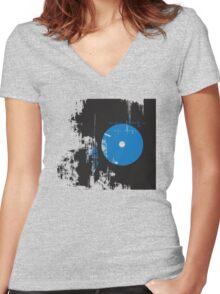 Faded Vinyl Blue Women's Fitted V-Neck T-Shirt
