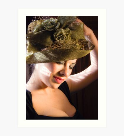 Lady in a Green Hat Art Print