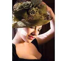 Lady in a Green Hat Photographic Print