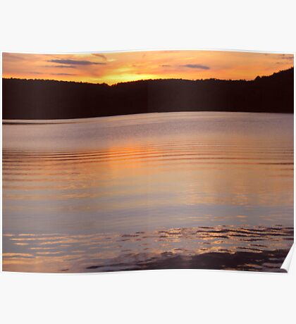 Layers of Gold and Yellow Water, Monksville Sunset Poster