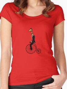 Penny-farthing Giraffe Women's Fitted Scoop T-Shirt