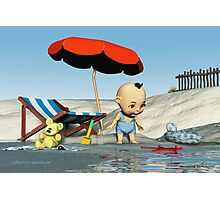 Baby Toon-Discoveries on the beach Photographic Print