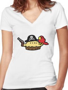 Pie Pirate Women's Fitted V-Neck T-Shirt