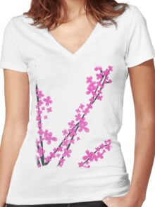 Cherry Blossom on Pink Women's Fitted V-Neck T-Shirt