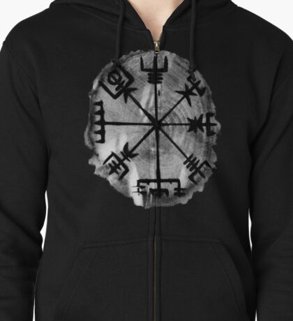 Runic Magic, Norse Compass - 'Vegvisir' Zipped Hoodie