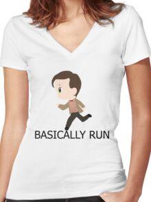 Basically Run Women's Fitted V-Neck T-Shirt