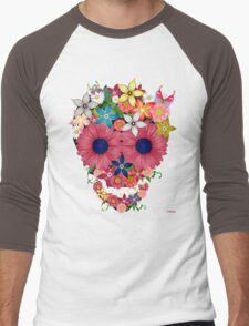 Skull Flowers Men's Baseball ¾ T-Shirt