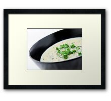 Cauliflower with Blue Vein Cheese soup Framed Print