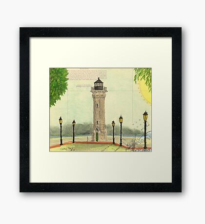 Blackwell Island Lighthouse NY Nautical Chart Peek Framed Print
