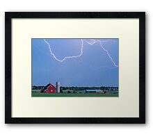 C2C Red Barn Lightning Rodeo  Framed Print