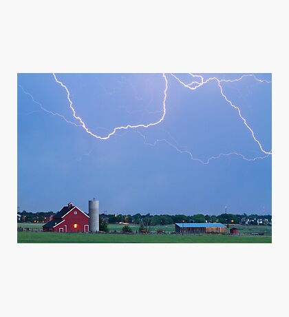 C2C Red Barn Lightning Rodeo  Photographic Print