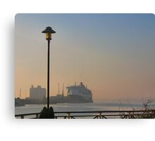 The Queen Mary 2 on a misty morning in Southampton. Canvas Print
