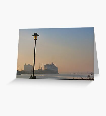 The Queen Mary 2 on a misty morning in Southampton. Greeting Card