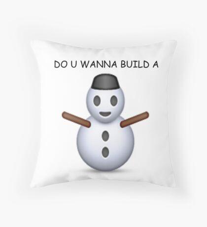 'Do u wanna build a snowman' Emoji - CHRISTMAS Throw Pillow
