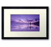 Reflections of a sexy girl on the beach Framed Print
