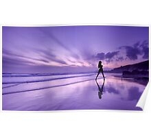 Reflections of a girl on the beach at sunset. Poster