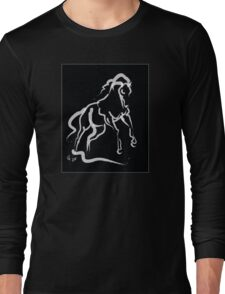 Horse white runner Long Sleeve T-Shirt