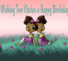 """""""Wishing Two Cuties a Happy B-day"""" Card (blank inside) by treasured-gift"""