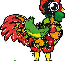 Cute Barcelos Rooster Kawaii by silvianeto