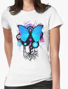 Butterflies and Alien Friends Womens Fitted T-Shirt