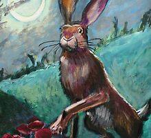 Rabbit Under the Moon by erinmeyersart