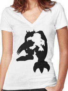 Wargreymon Digivolution Women's Fitted V-Neck T-Shirt