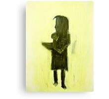 child with basket Canvas Print