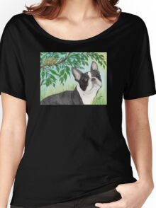 Boston Terrier Dog Tree Frog Cathy Peek Animals Women's Relaxed Fit T-Shirt