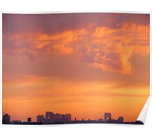 Firey sunset in New York City  Poster