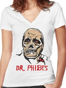 Mani Yack Dr Phibes 1 Women's Fitted V-Neck T-Shirt