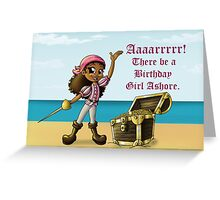 """Pirate Girl Birthday Card"" (blank inside) Greeting Card"