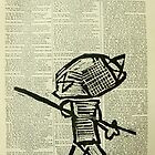 boy with stick on old paper by donnamalone